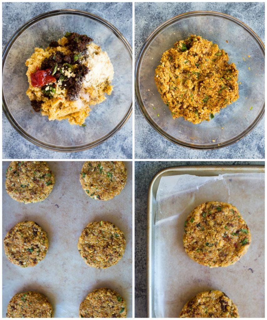Sun-Dried Tomato and Basil Veggie Burgers Step 2