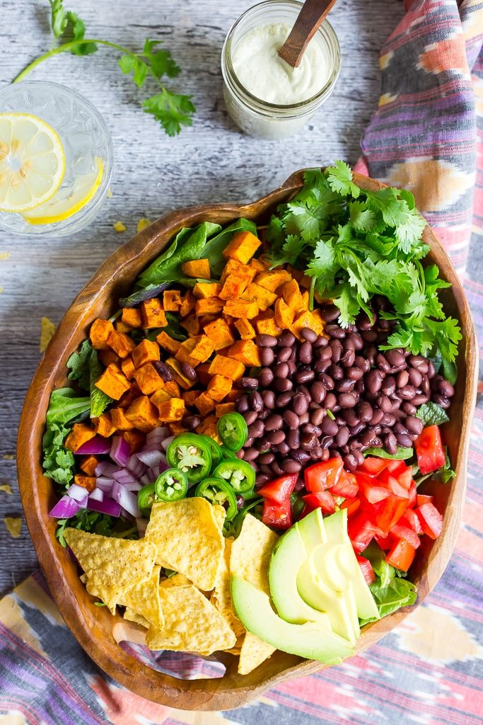 Sweet Potato Taco Salad with Pepper Greens & Jalapeno Ranch-5240