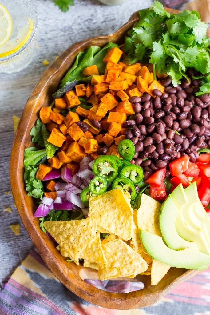 Sweet Potato Taco Salad with Pepper Greens & Jalapeno Ranch-5258