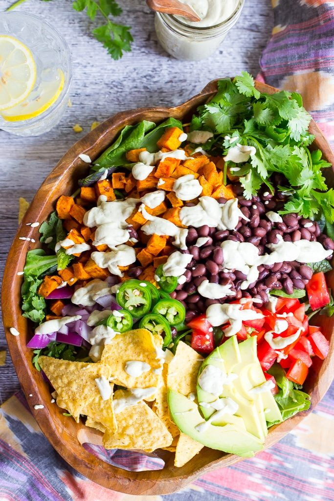 Sweet Potato Taco Salad with Pepper Greens & Jalapeno Ranch-5285