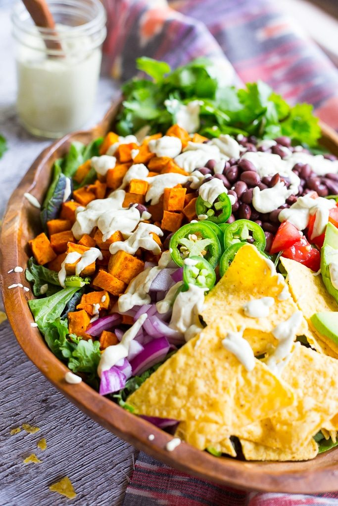 Sweet Potato Taco Salad with Pepper Greens & Jalapeno Ranch-5288