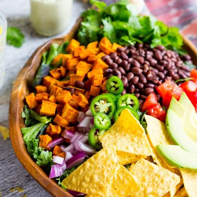 Sweet Potato Taco Salad with Pepper Greens & Jalapeno Ranch