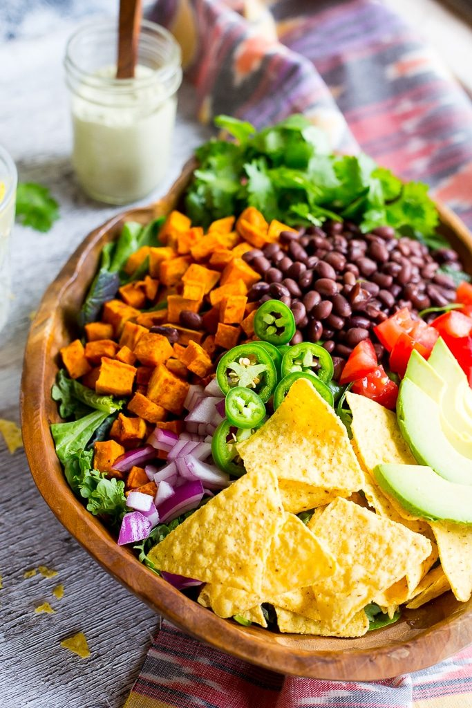 Sweet Potato Taco Salad with Pepper Greens & Jalapeno RanchMain