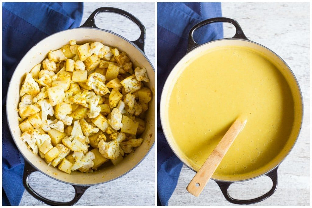 Curry Cauliflower & Potato Soup with Crispy Chickpeas