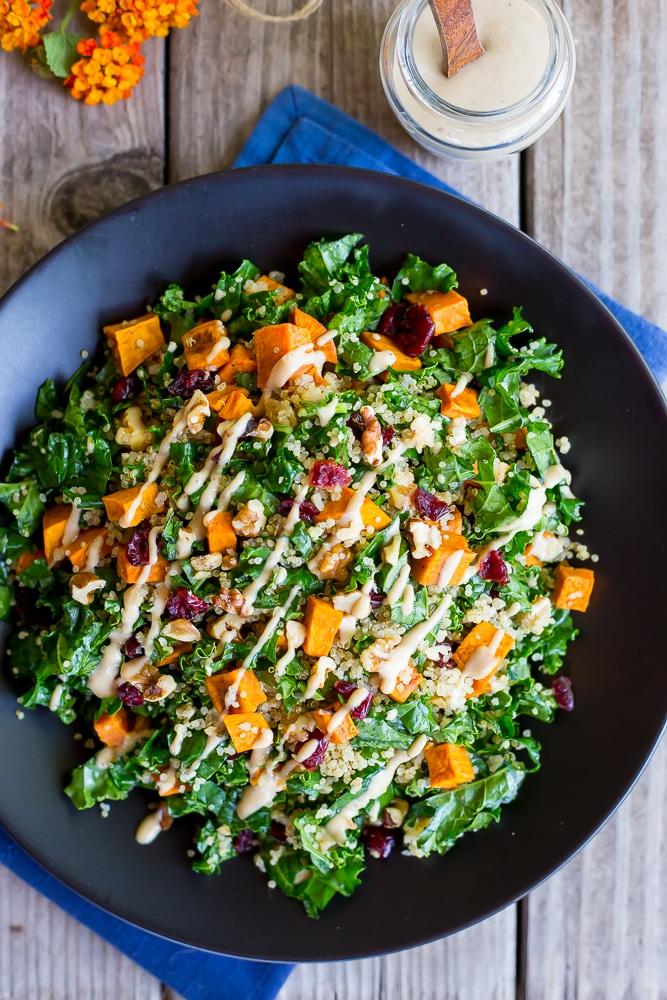 Fall Quinoa Salad with Kale, Sweet Potato & Maple Tahini Dressing-6168
