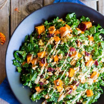 Fall Quinoa Salad with Kale, Sweet Potato & Maple Tahini Dressing