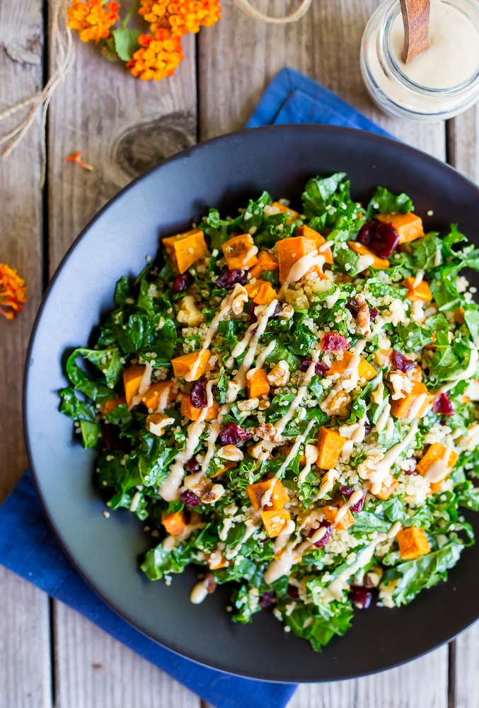 Fall Quinoa Salad with Kale + Maple-Tahini Dressing AND twenty other healthy quinoa recipes you should be enjoying this fall
