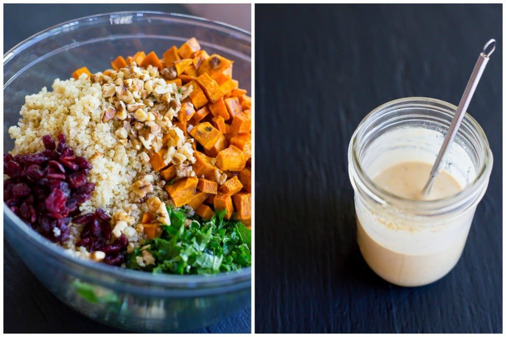 Fall Quinoa Salad with Kale, Sweet Potato & Maple Tahini Dressing- Steps