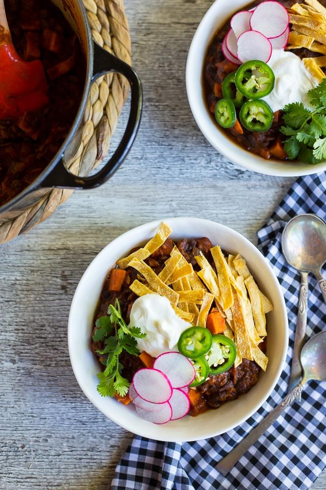 Spaghetti Squash, Sweet Potato add Black Bean Chili-7925