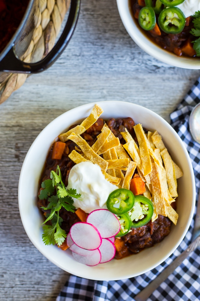 Spaghetti Squash, Sweet Potato add Black Bean Chili-7945