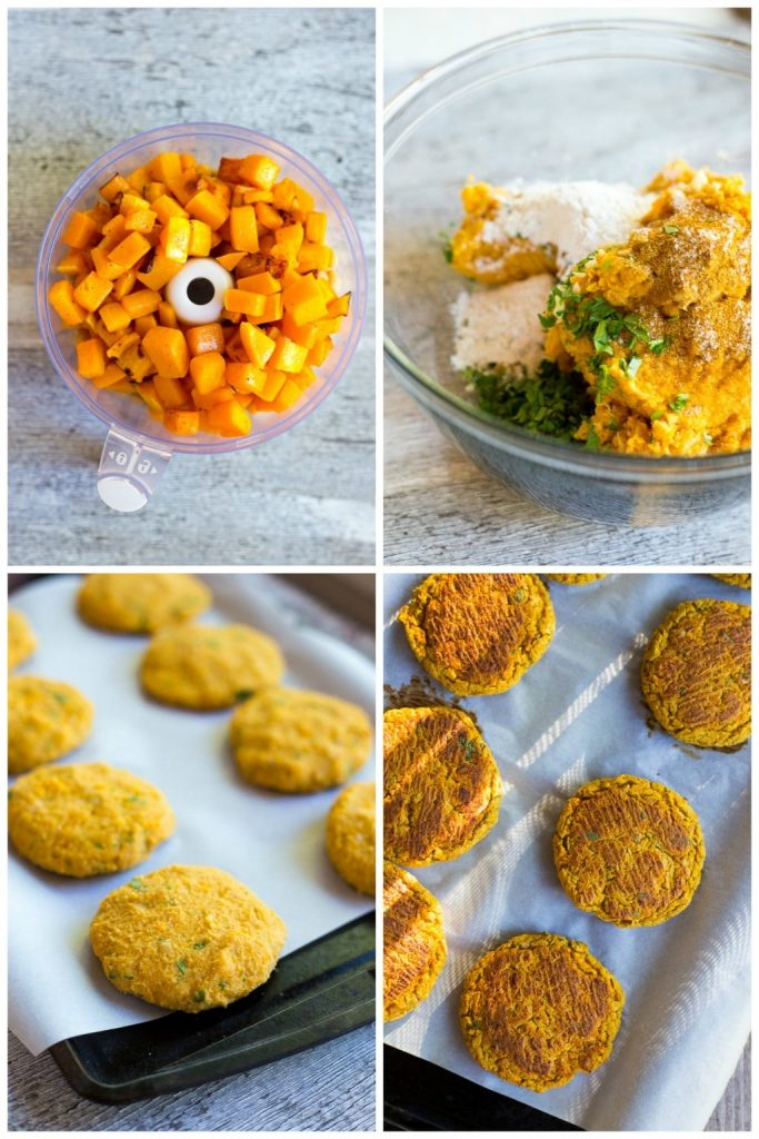 Butternut Squash Falafel with Maple Tahini Sauce!  A delicious, seasonal twist on the traditional falafel!  These make the perfect lunch or dinner on top of a salad or stuffed into a pita {gluten free, vegan
