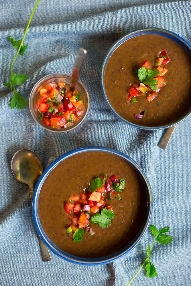 30 Minute Black Bean Soup with Pico De Gallo-0719