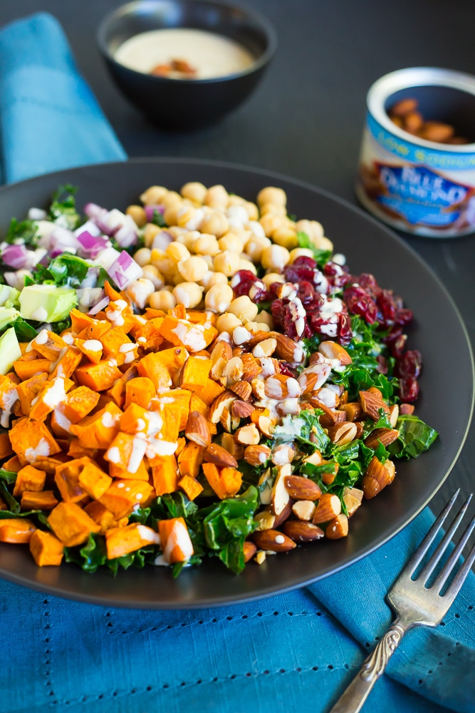 ... sweet potato, chickpeas, almonds, avocado, cranberries and red onion