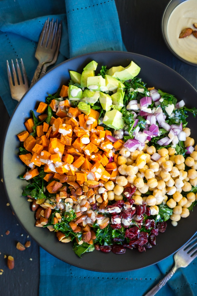 Kale Power Salad with Lemon Tahini Dressing is the perfect salad ...