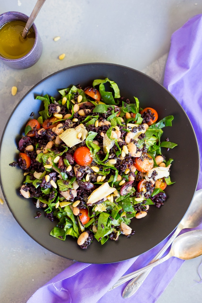 Mediterranean Black Rice Salad with Roasted Garlic Vinaigrette