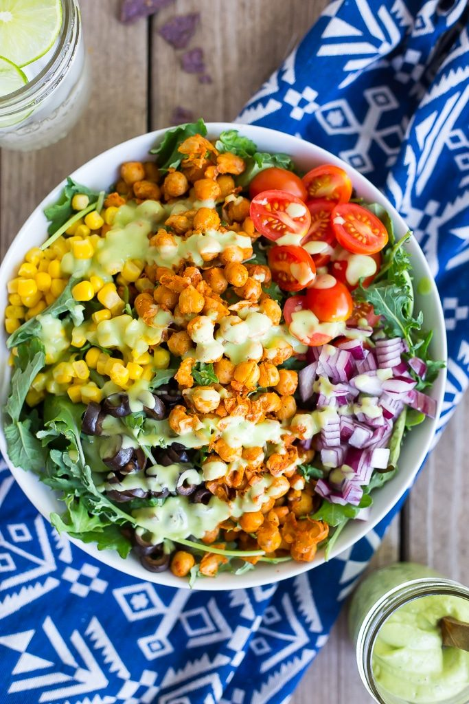 Seasoned Chickpea Taco Salad with Avocado Ranch Dressing-1878