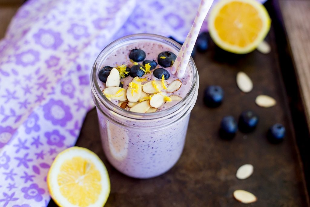 This Lemon, Blueberry & Almond Protein Smoothie has 27 grams of protein in it!  It is easy to make, delicious to drink and will keep you feeling full all morning!