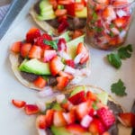 Black Bean & Avocado Tostadas with Strawberry Salsa