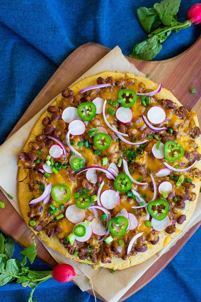 Vegetarian Chili Cornbread Pizza-2607