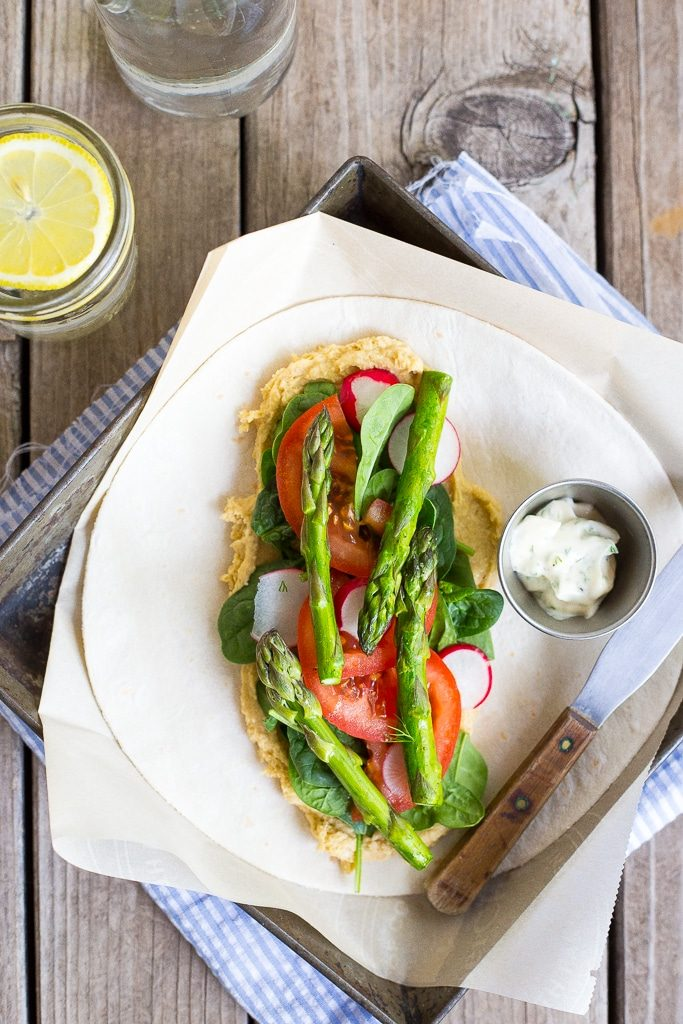 These Hummus Wraps with Spring Vegetables & Herbed Mayo are fresh, light and delicious!  They make for a great lunch or dinner!  {gluten free, vegan}