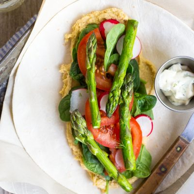 Hummus Wraps with Spring Vegetables and Herbed Mayo {vegan}