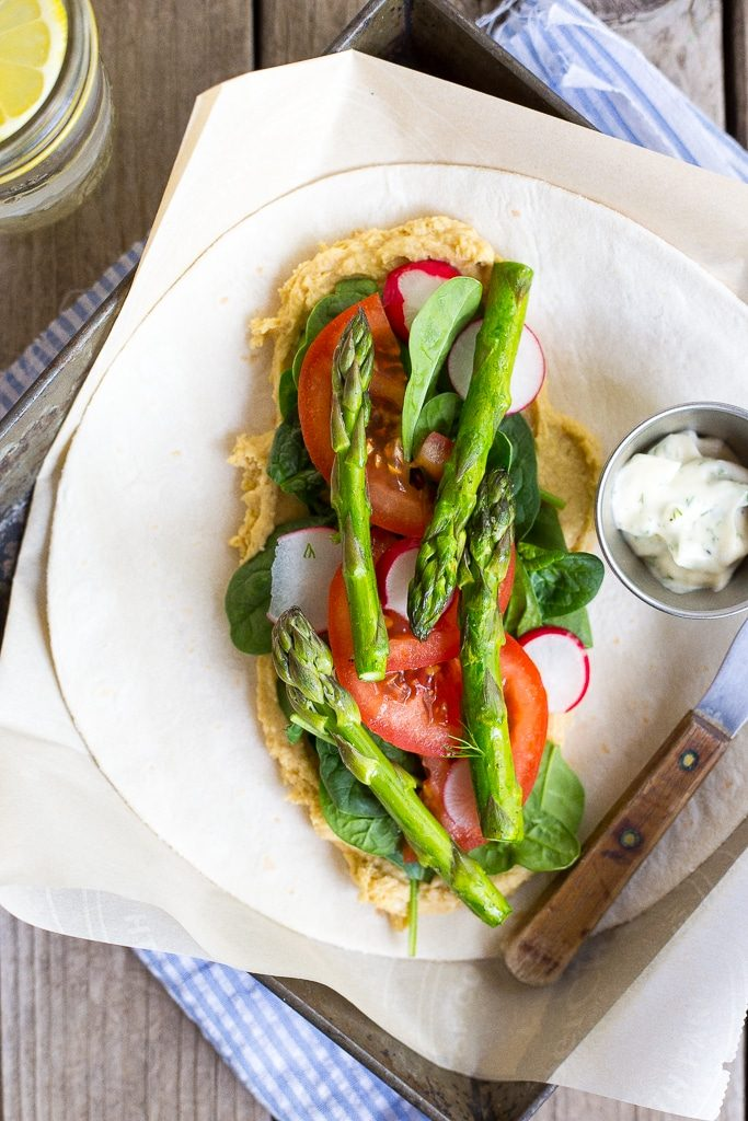 Hummus wraps with spring vegetables and herbed mayo vegan she these hummus wraps with spring vegetables herbed mayo are fresh light and delicious forumfinder Choice Image