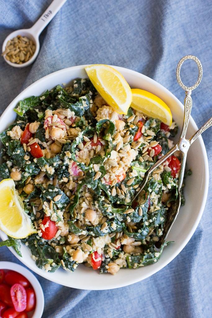 Kale Amp Quinoa Salad With Cherry Tomatoes Amp Lemon Tahini