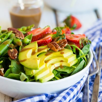 Strawberry, Avocado & Sweet Pea Salad with Balsamic Tahini Dressing