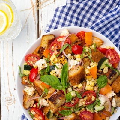 Summer Panzanella Salad with Grilled Corn