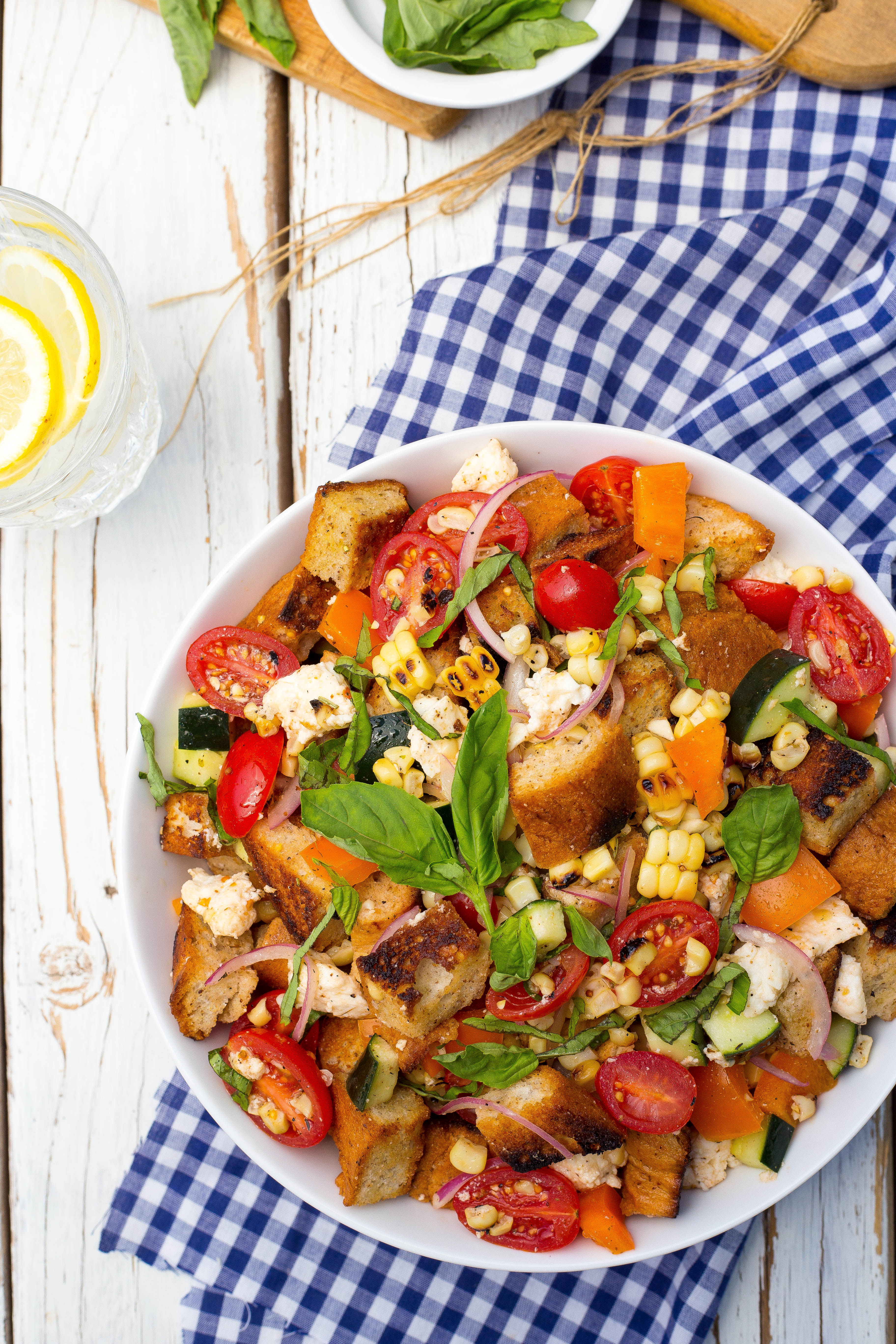 spinach and white bean panzanella salad with basil vinaigrette