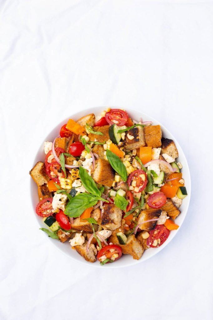 Grilled Corn Summer Panzanella Salad!  You will get a delicious taste of summer in every bite!  This is the perfect side dish for a BBQ or light lunch!