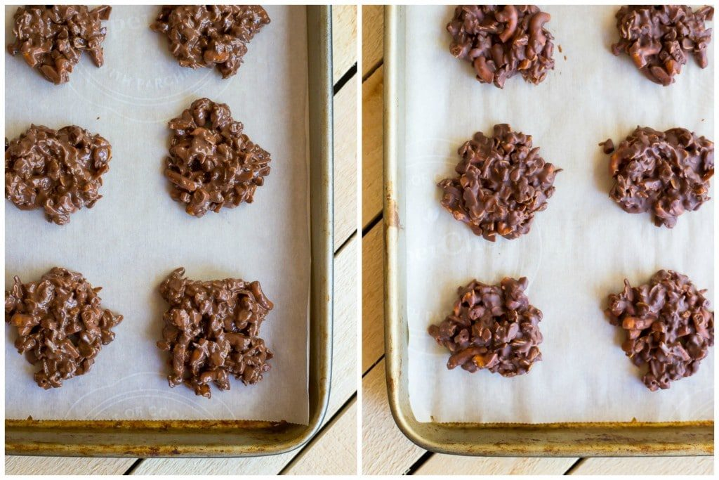 No Bake Chocolate Pretzel Peanut Butter Cookies!  So easy to make and they make for a delicious snack or dessert when you're craving cookies but don't want to turn on the oven! {gluten free}