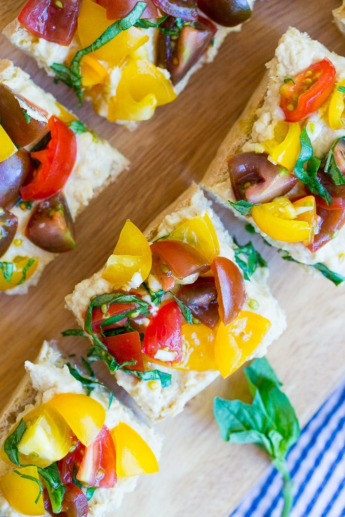 Roasted Garlic Hummus Bruschetta - She Likes Food