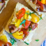 Roasted Garlic Hummus Bruschetta