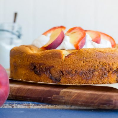Fresh Peach Cake with Streusel Filling {Gluten Free}