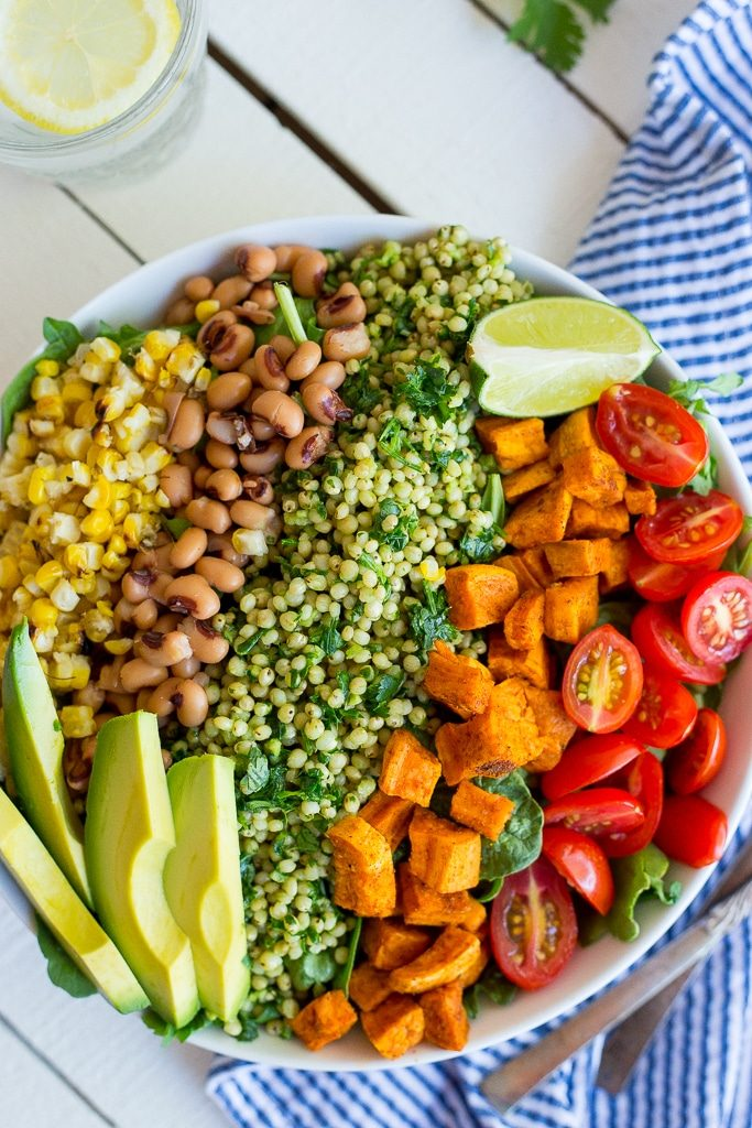 Green Sorghum Burrito Bowls with Roasted Sweet Potato!  These burrito bowls are fresh, filling and delicious! {gluten free, vegan}