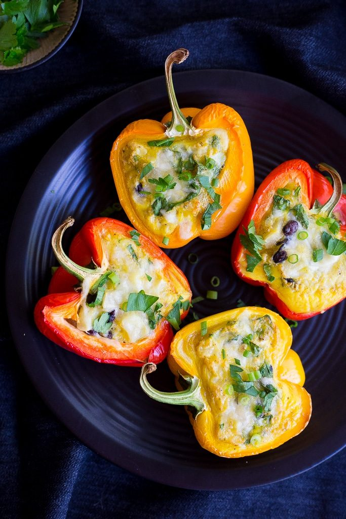 These healthy and hearty Loaded Breakfast Stuffed Peppers can be made ahead of time and re-heated for a delicious breakfast all week long!