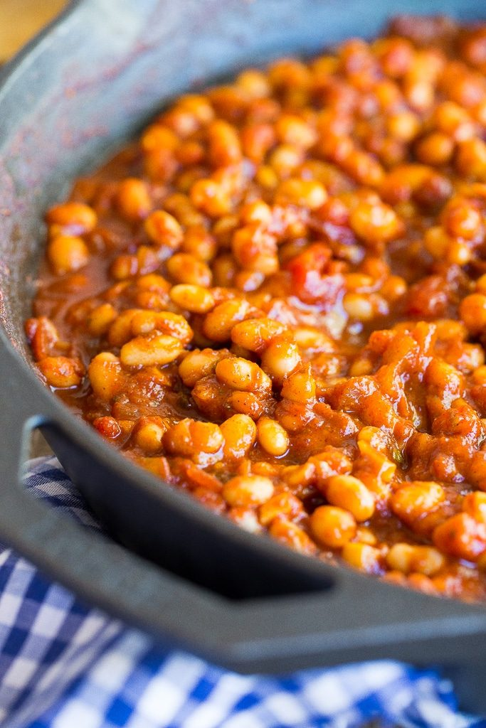 These Vegetarian Stove-Top BBQ Baked Beans are so full of flavor and only take 30 minutes to make!  No oven required!