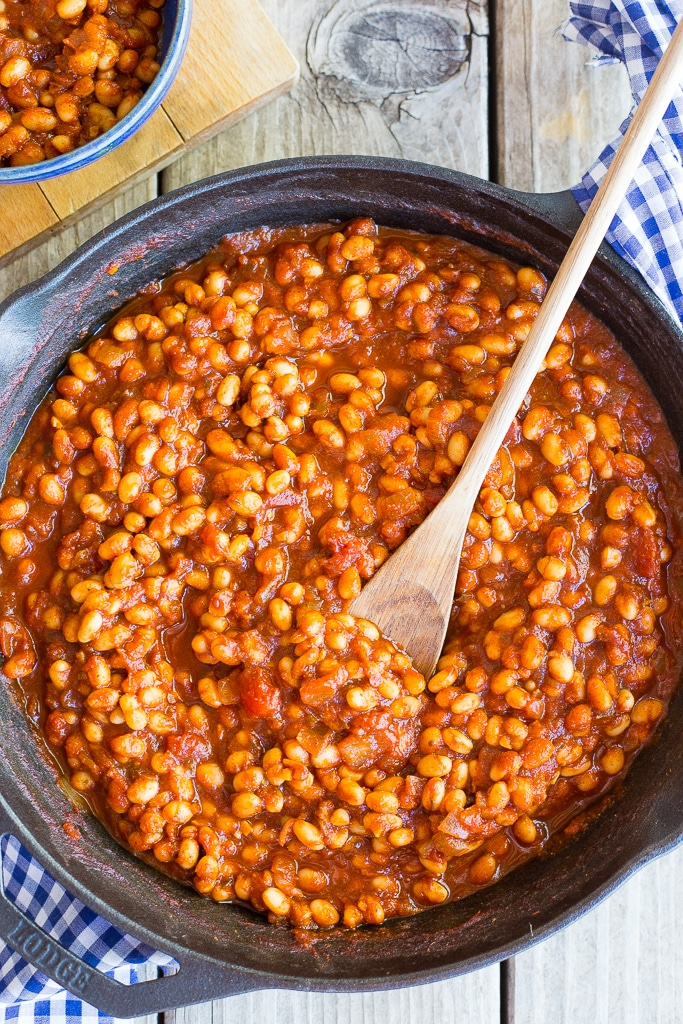 Stove-Top BBQ Baked Beans {Vegetarian} - She Likes Food