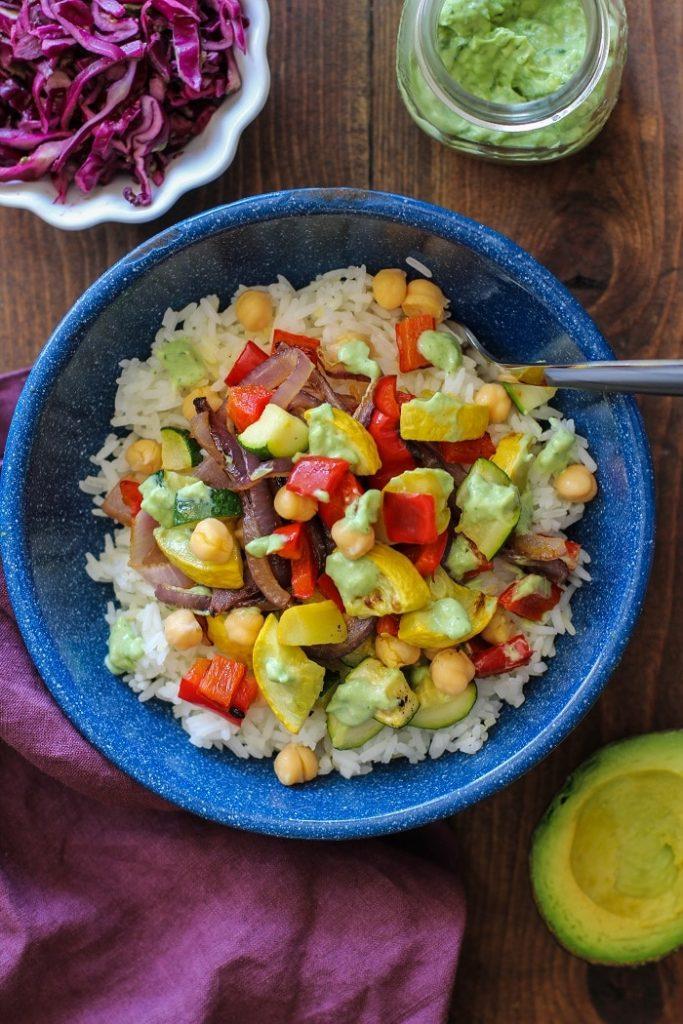 roasted_summer_vegetable_burrito_bowls_with_avocado_basil_crema_3