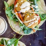 Roasted Broccoli and Lemon Falafel Pitas