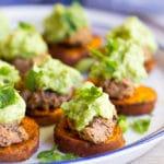 Sweet Potato Bites with Black Bean Hummus & Guacamole