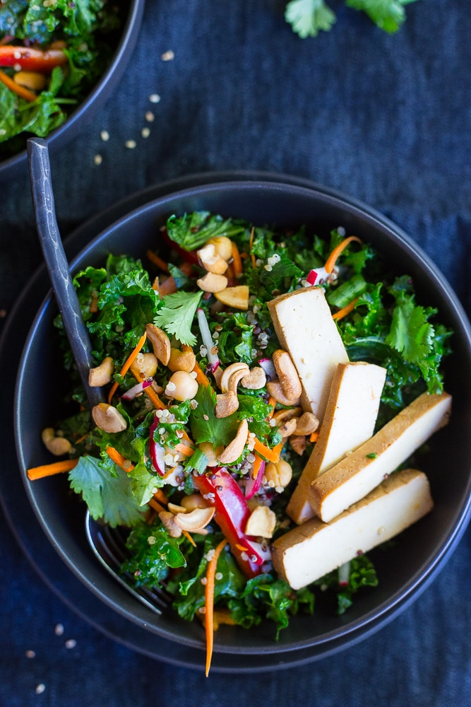 This Asian Kale Power Salad is packed with protein, flavor and crunch to keep you feeling full all afteroon!  Perfect for lunch!  Gluten free and vegan too!