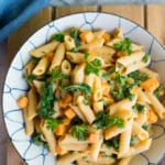 Creamy White Bean Pasta with Sweet Potato & Kale