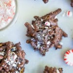 3-Ingredient Chocolate and Peppermint Haystacks
