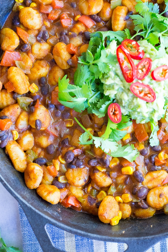 This Gnocchi Enchilada Skillet comes together in only 30 minutes and required just one pan!  It's a great weeknight dinner with tons of flavor! Gluten free and vegan too!