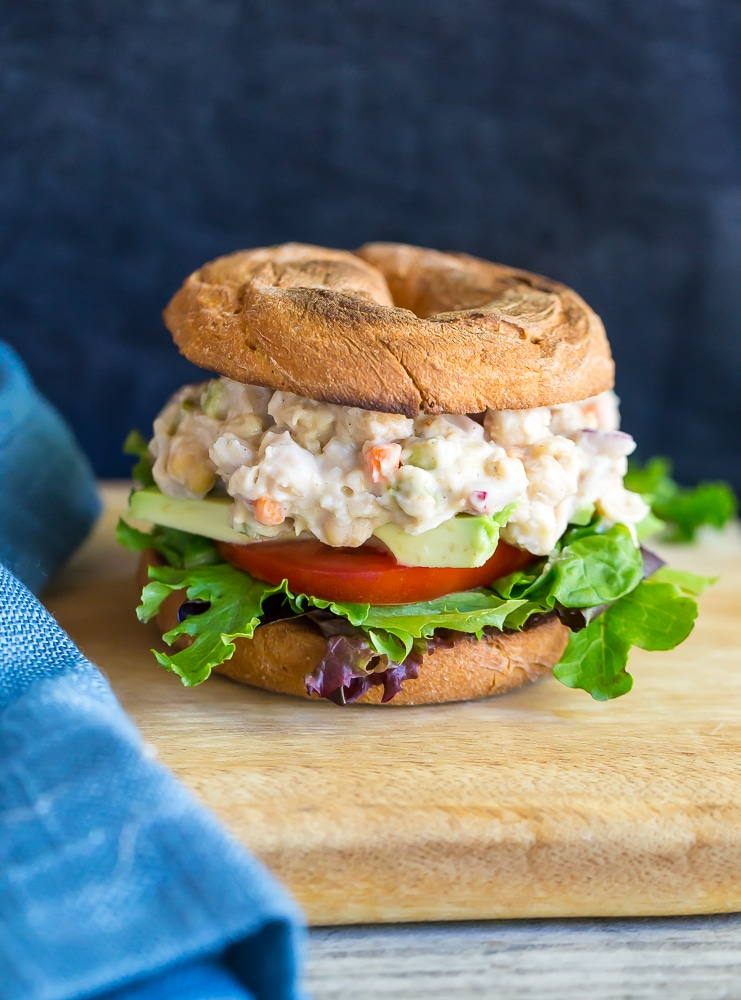 These Chickpea and Whitebean Salad Sandwiches are so easy to make and perfect for a quick and healthy lunch! {vegan}