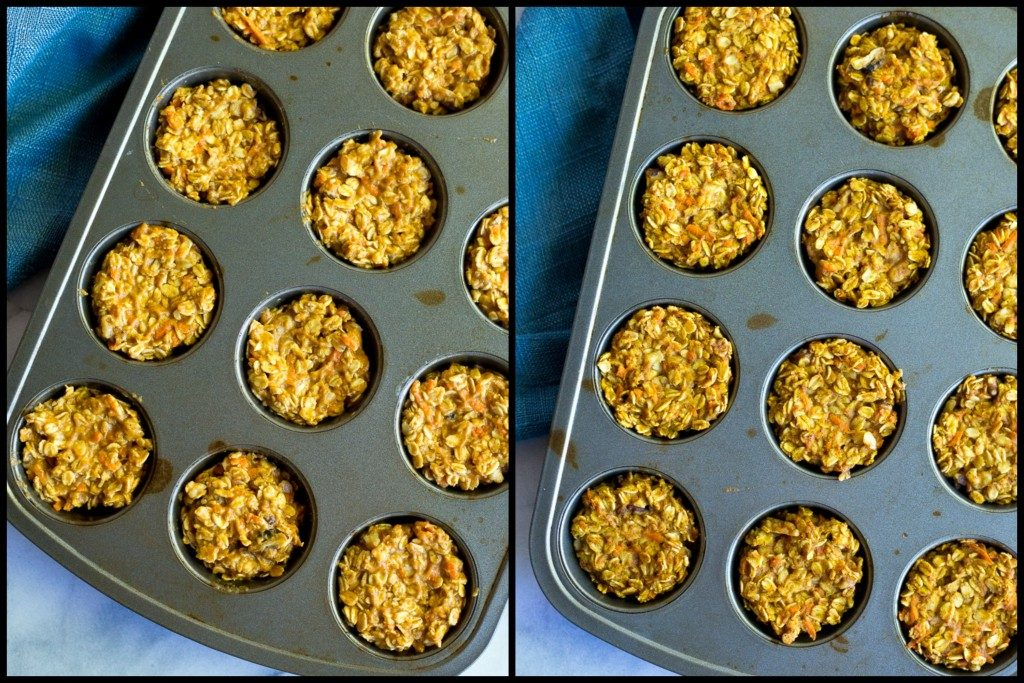 These Healthy Pumpkin and Carrot Baked Oatmeal Cups are perfect for a freezer friendly make ahead breakfast that is easy to grab and go with! Vegan and gluten free too!