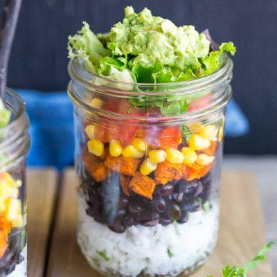 Vegetarian Mason Jar Burrito Bowls