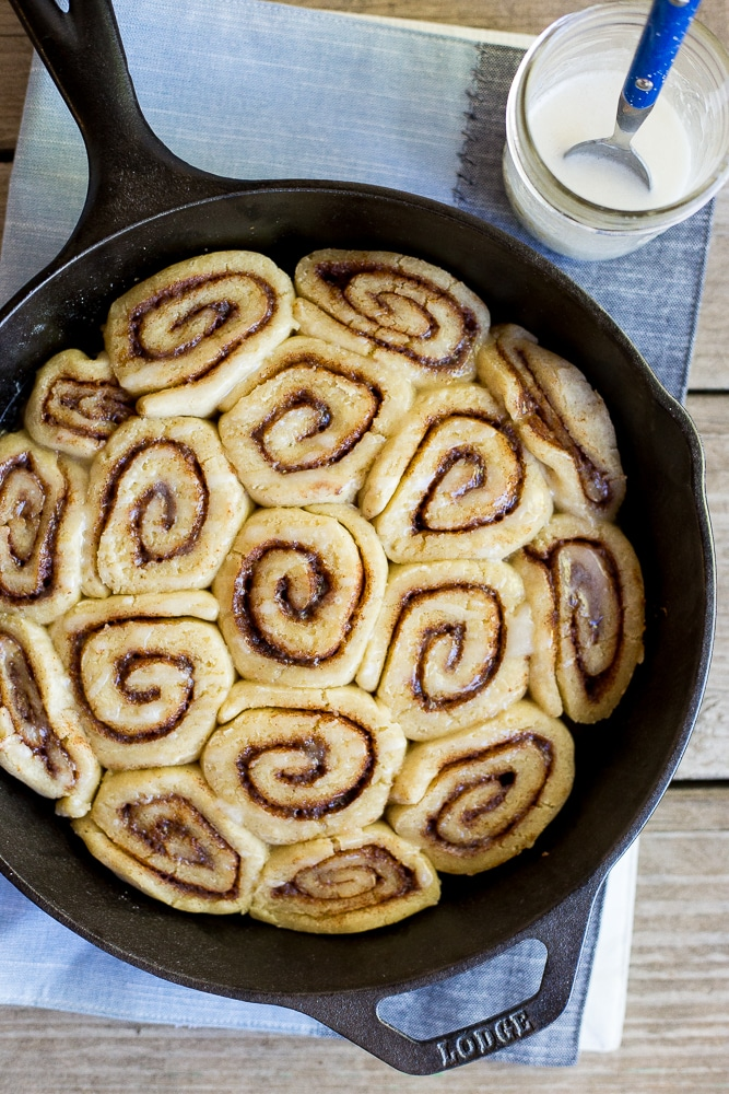 The Best Gluten Free Cinnamon Rolls in a large pan
